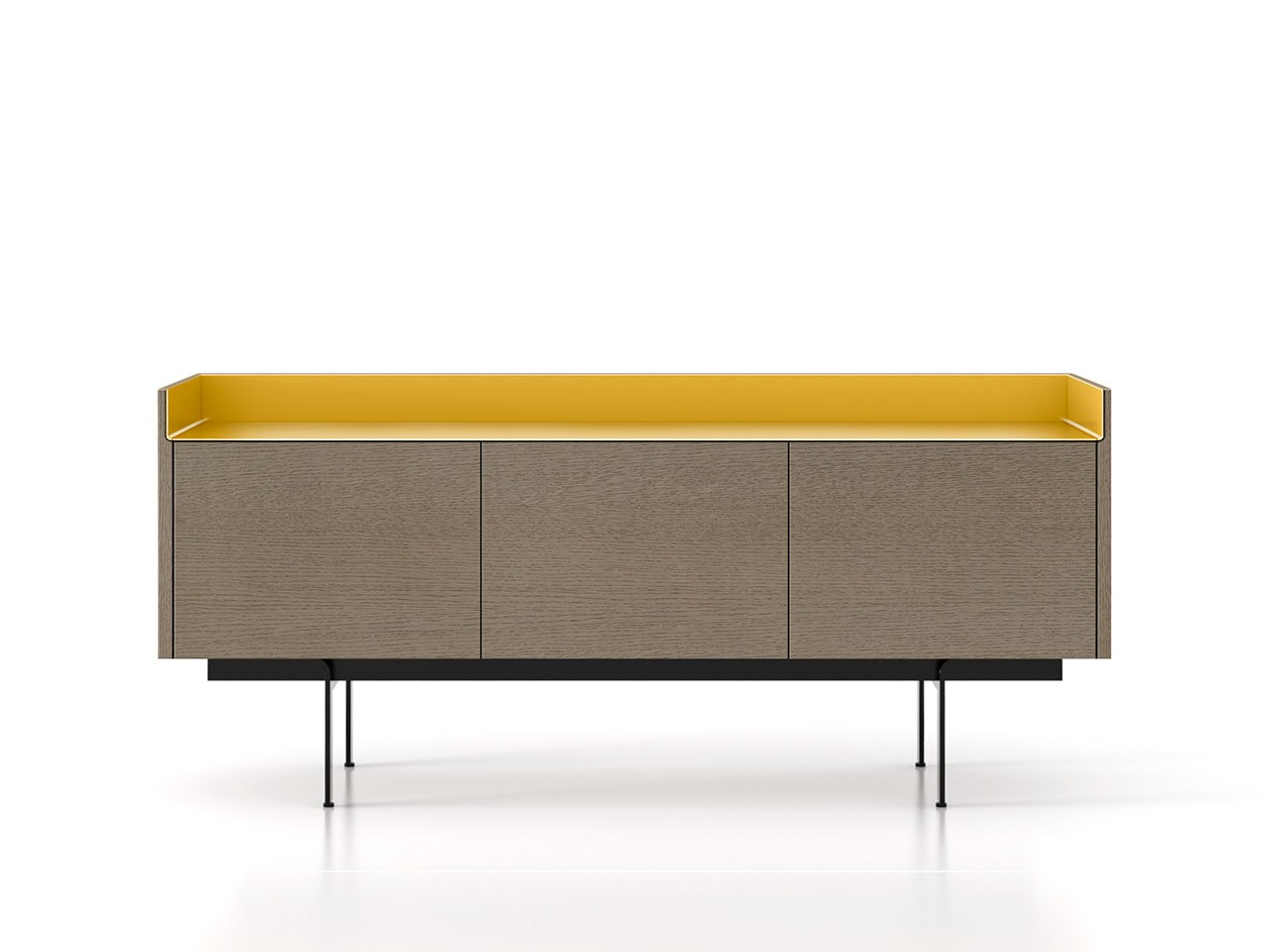 STH311 Stockholm Sideboard Siena Grey Stained Oak, Gold Anodised Aluminium, Black Textured Metal
