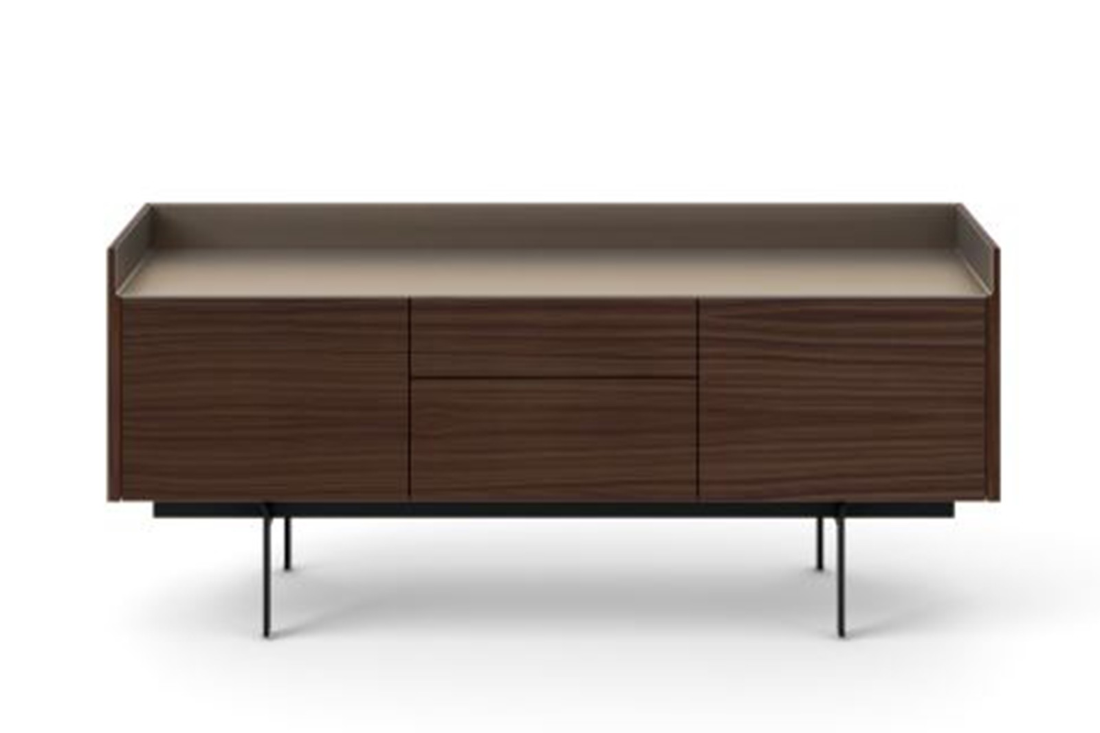 STH312 Stockholm Sideboard Dark Stained Walnut, Bronze Anodised Aluminium, Black Textured Metal
