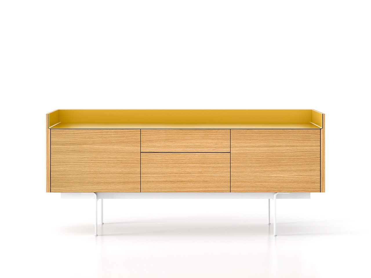 STH312 Stockholm Sideboard Super-Matt Oak, Gold Anodised Aluminium, White Textured Metal