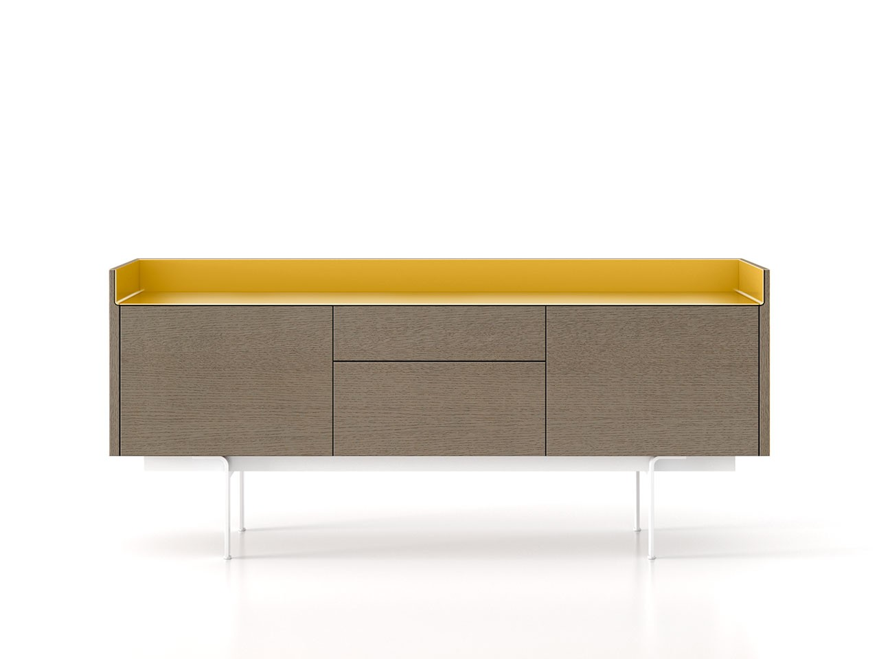 STH312 Stockholm Sideboard Siena Grey Stained Oak, Gold Anodised Aluminium, White Textured Metal