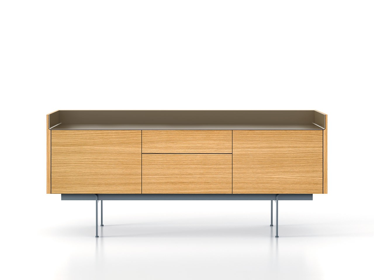 STH312 Stockholm Sideboard Super-Matt Oak, Bronze Anodised Aluminium, Beige Textured Metal (ral 1019
