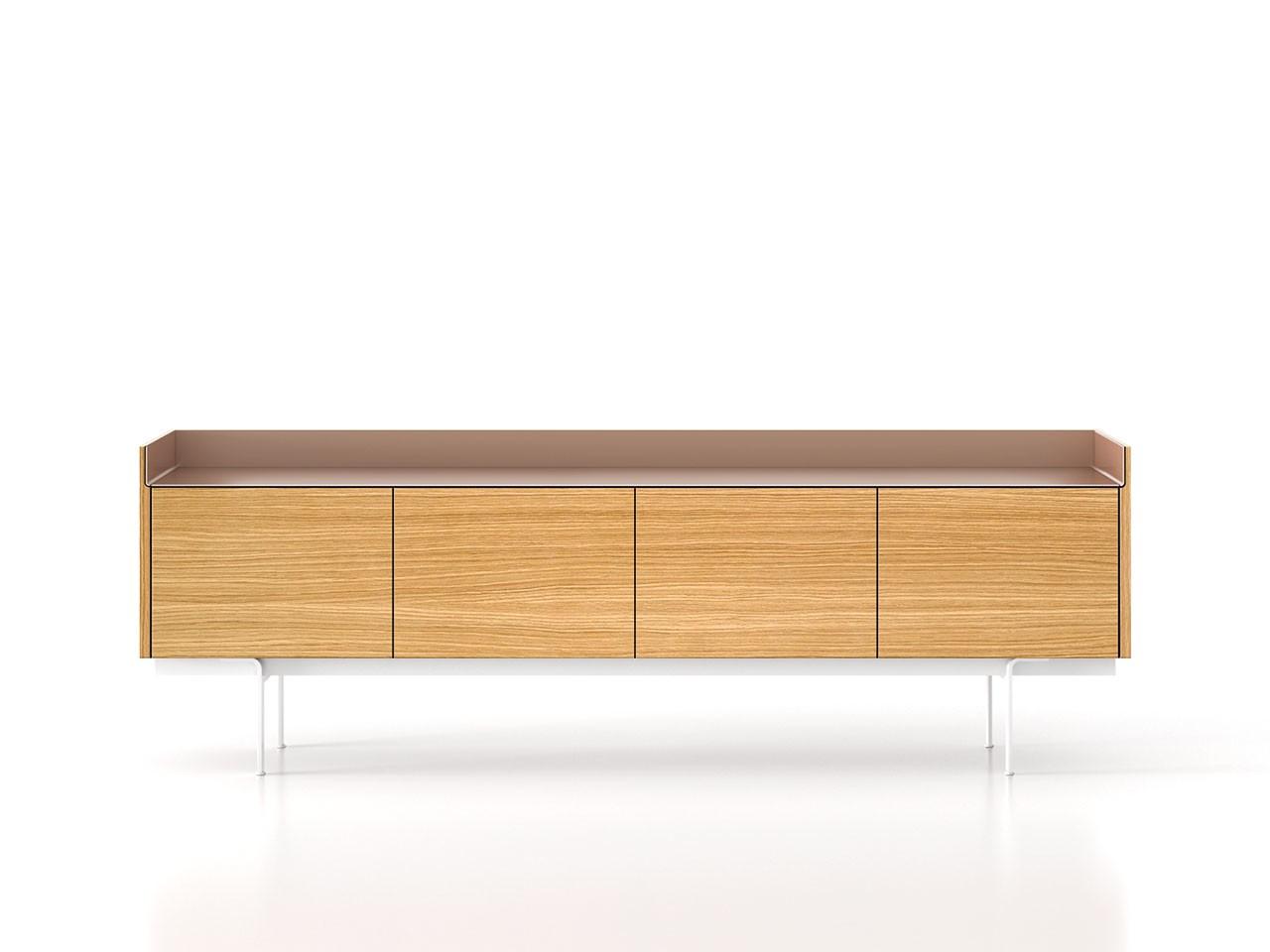 STH411 Stockholm Sideboard Super-Matt Oak, Pale Rose Anodised Aluminium, White Textured Metal