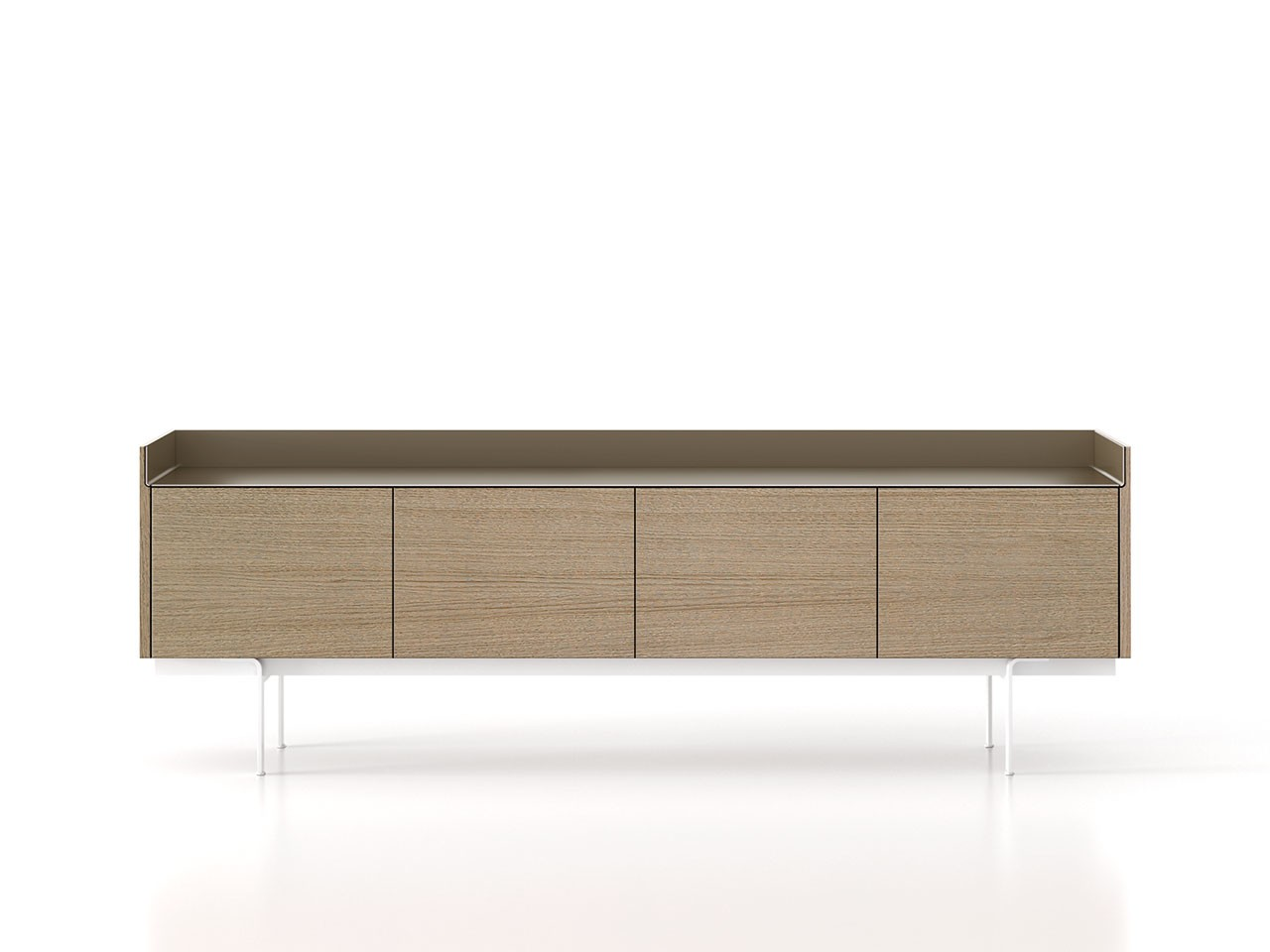 STH411 Stockholm Sideboard Whitened Oak, Bronze Anodised Aluminium, White Textured Metal