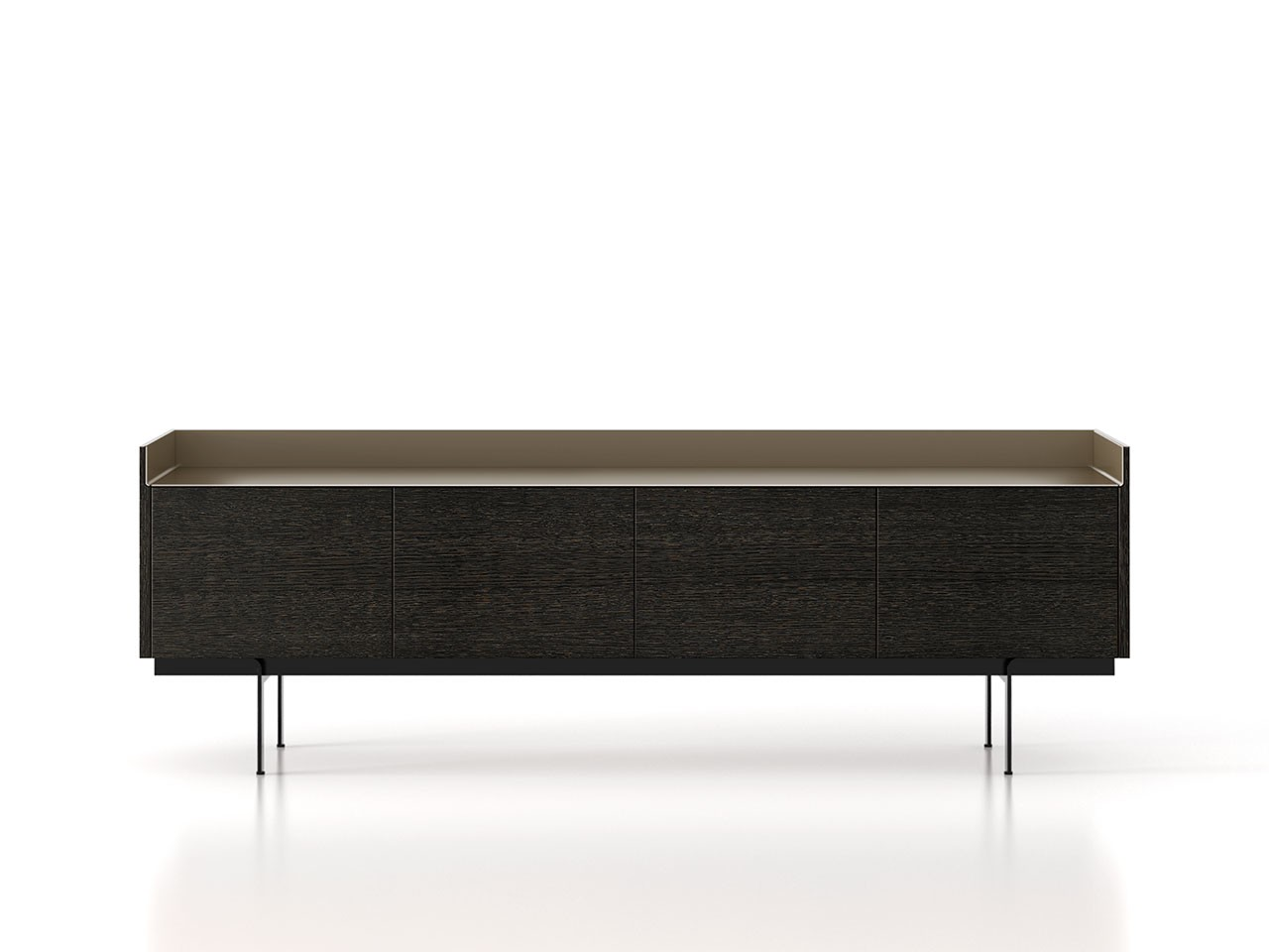 STH411 Stockholm Sideboard Dark Grey Stained Oak, Bronze Anodised Aluminium, Black Textured Metal