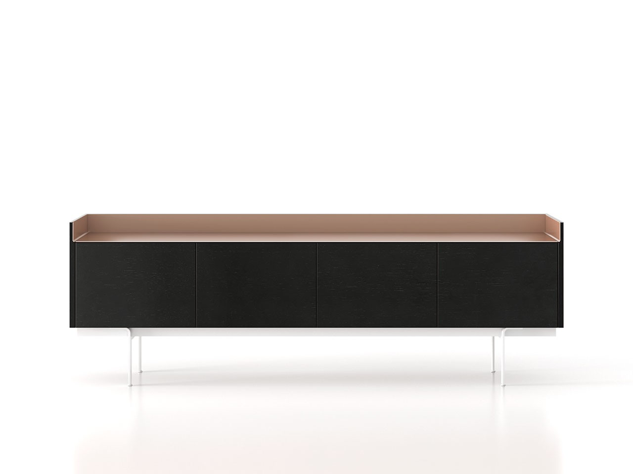 STH411 Stockholm Sideboard Ebony Stained Oak, Pale Rose Anodised Aluminium, White Textured Metal