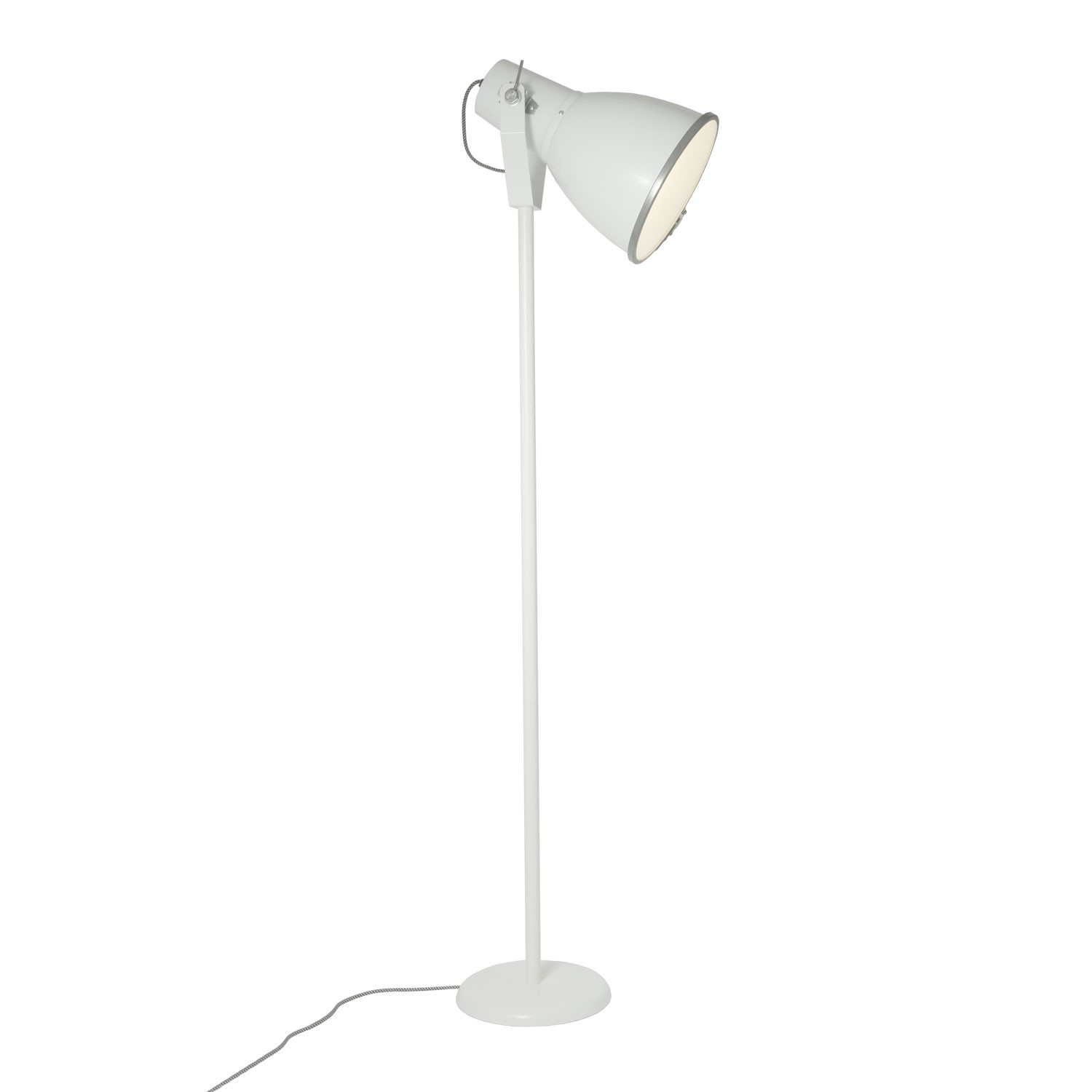 Stirrup Floor Lamp with Etched Glass White