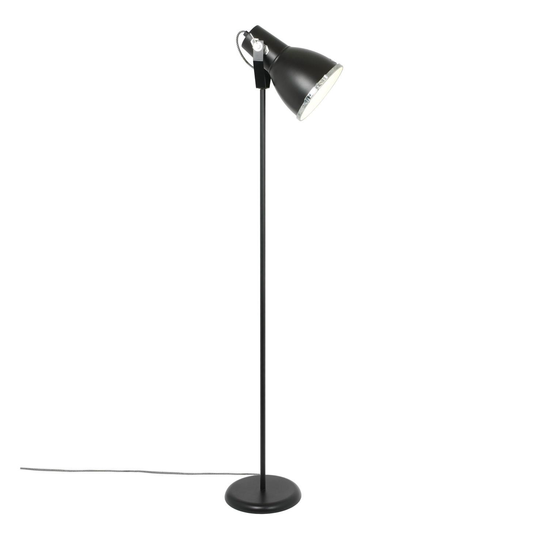 Stirrup Floor Lamp with Sandblasted Glass Black