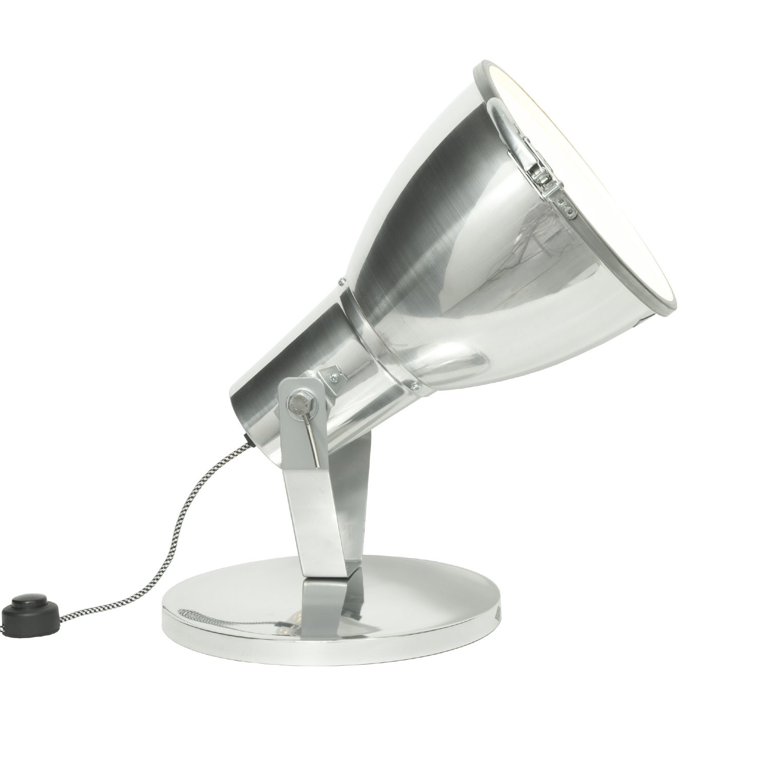 Stirrup Uplighter with Etched Glass Natural Aluminium