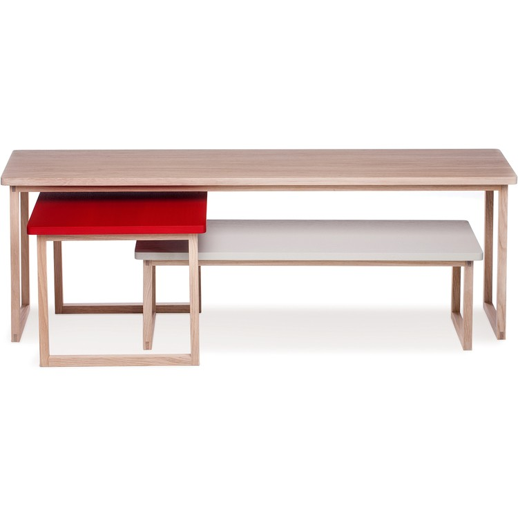 Strada set of 3 tables Latte/Flame Red/Light Grey