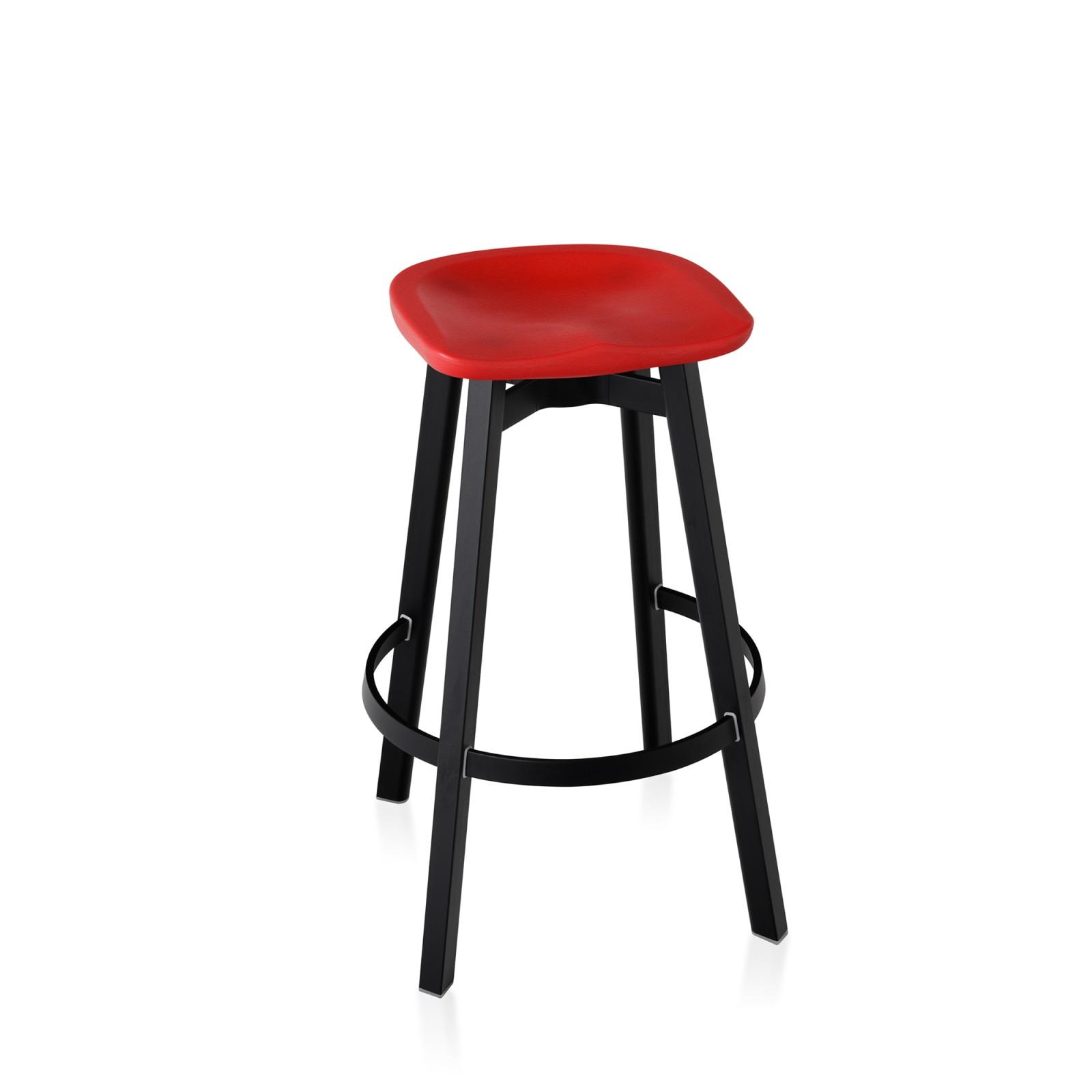 Su Bar Stool Black Aluminium, Red