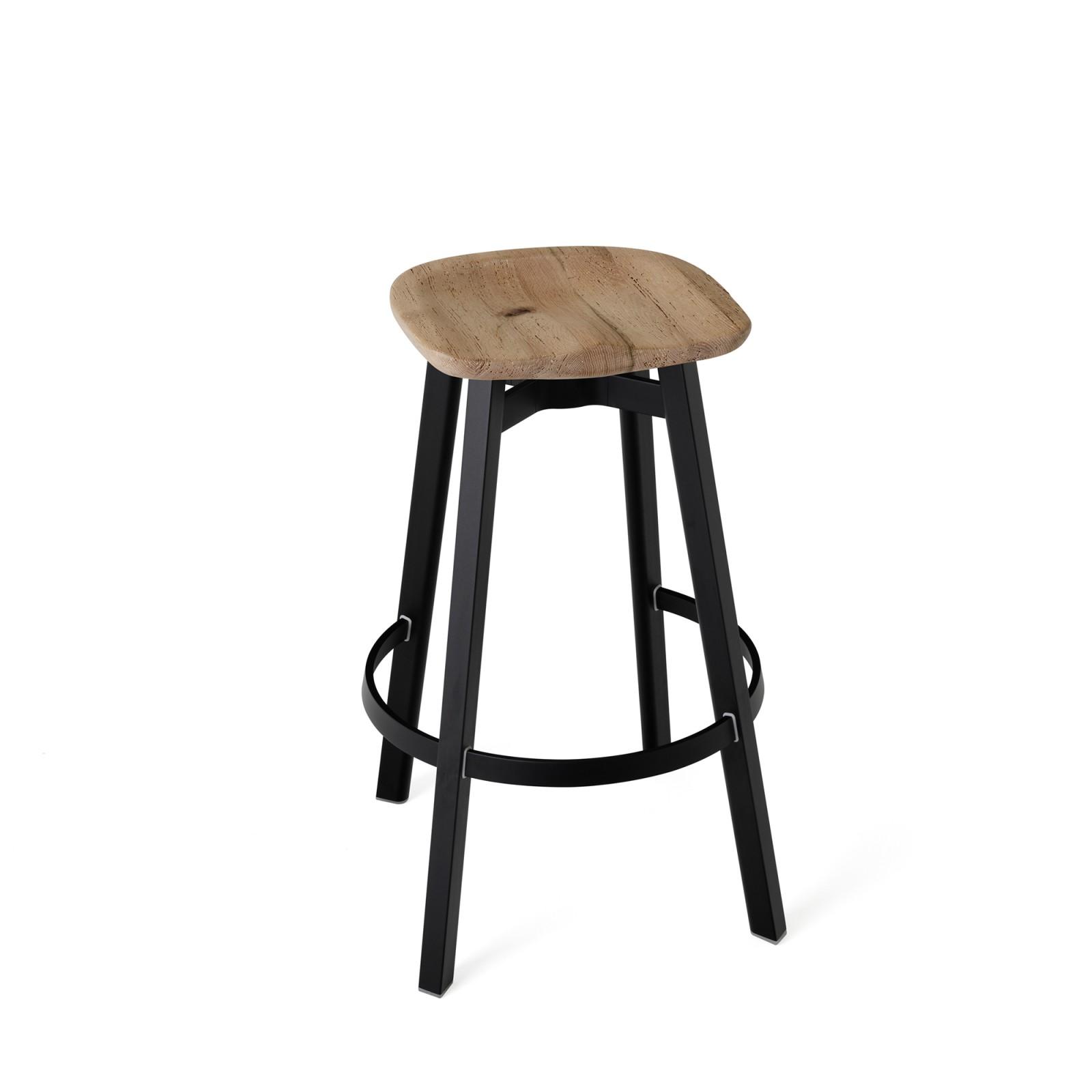 Su Bar Stool Black Aluminium, Oak