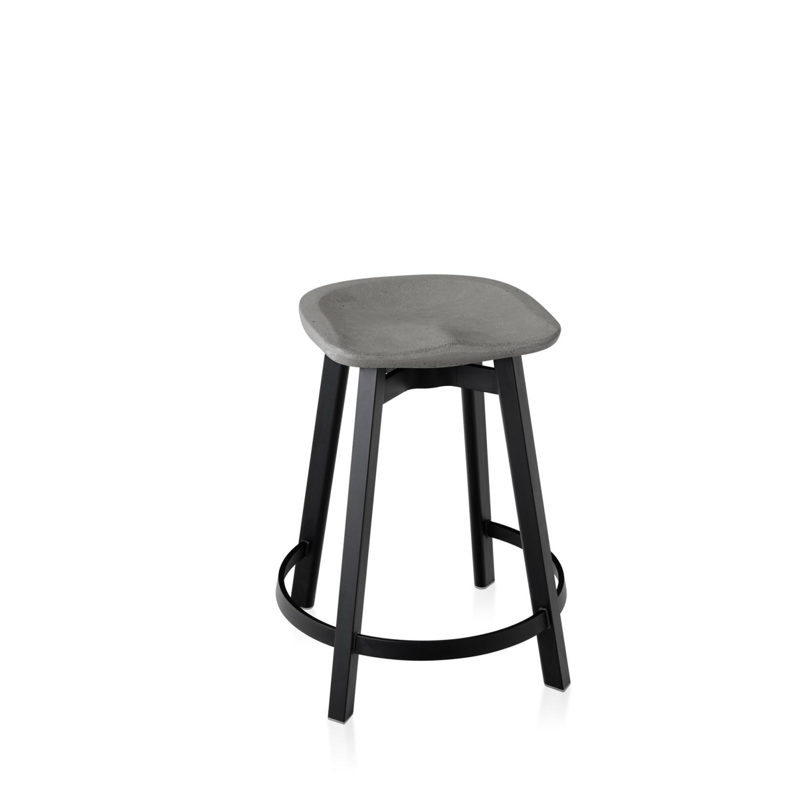 Su Counter Stool Black Aluminium, Flint Grey