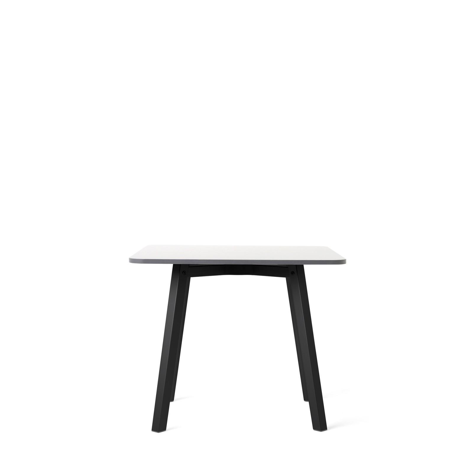 Su Side Table Black Aluminium, White Laminate