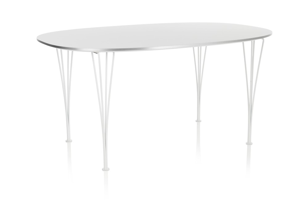 Super-elliptical Dining Table Laminate Standard Colour White 90 x 135 White