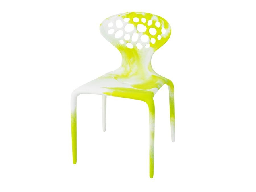 Supernatural Dining Chair with Perforated Back, Black/Fluo Green White/Fluo Green