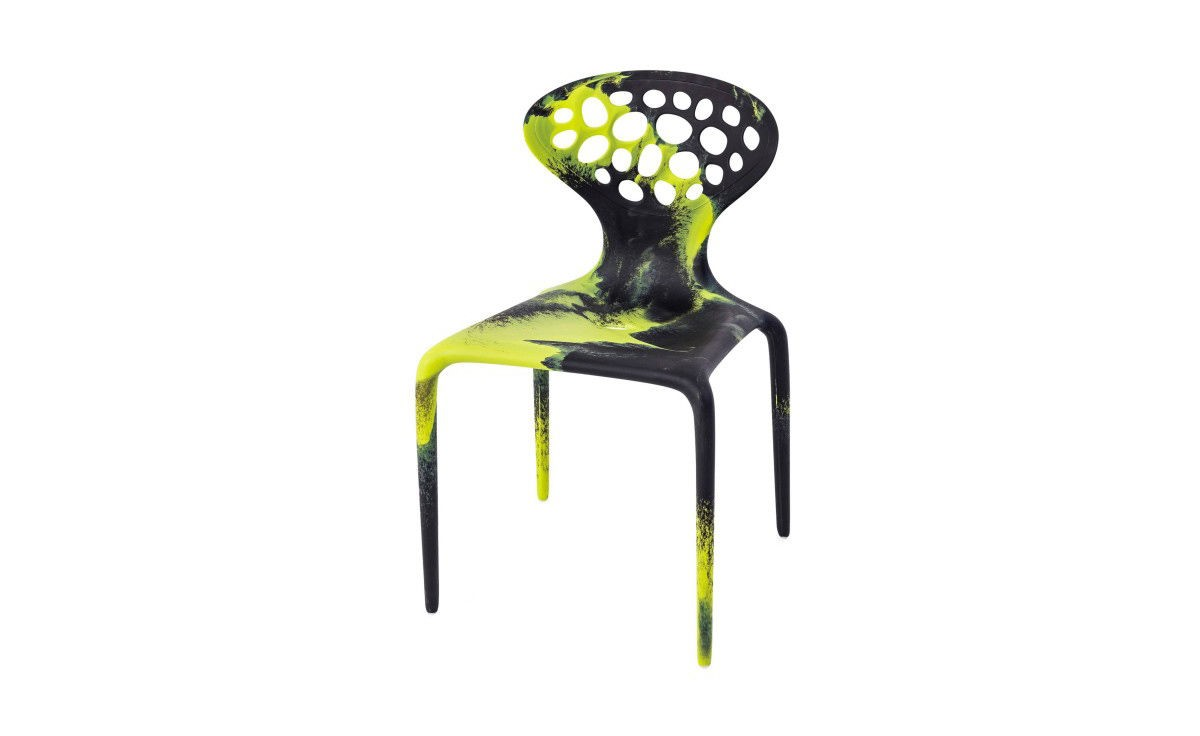 Supernatural Set of 4 Dining Chairs with Perforated Back Black/Fluo Green