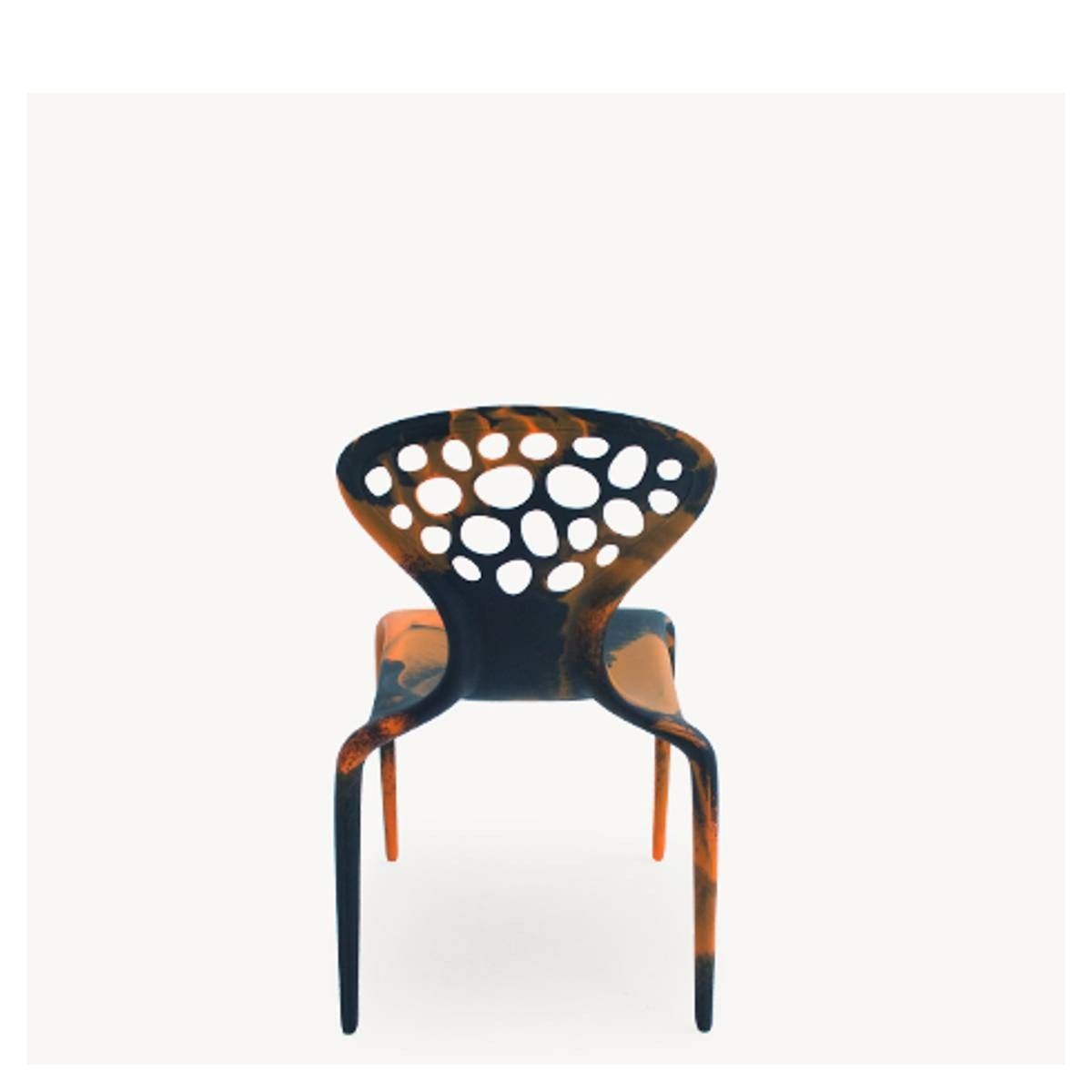 Supernatural Set of 4 Dining Chairs with Perforated Back Black/Orange