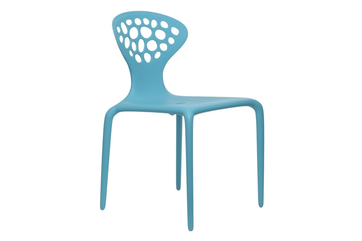 Supernatural Set of 4 Dining Chairs with Perforated Back Turquoiuse