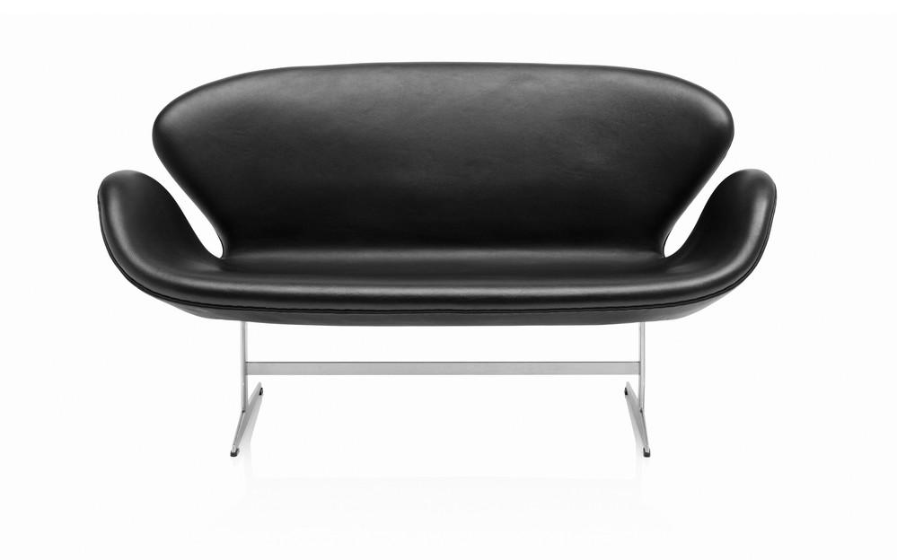 Swan 2-Seater Sofa Basic Leather Black