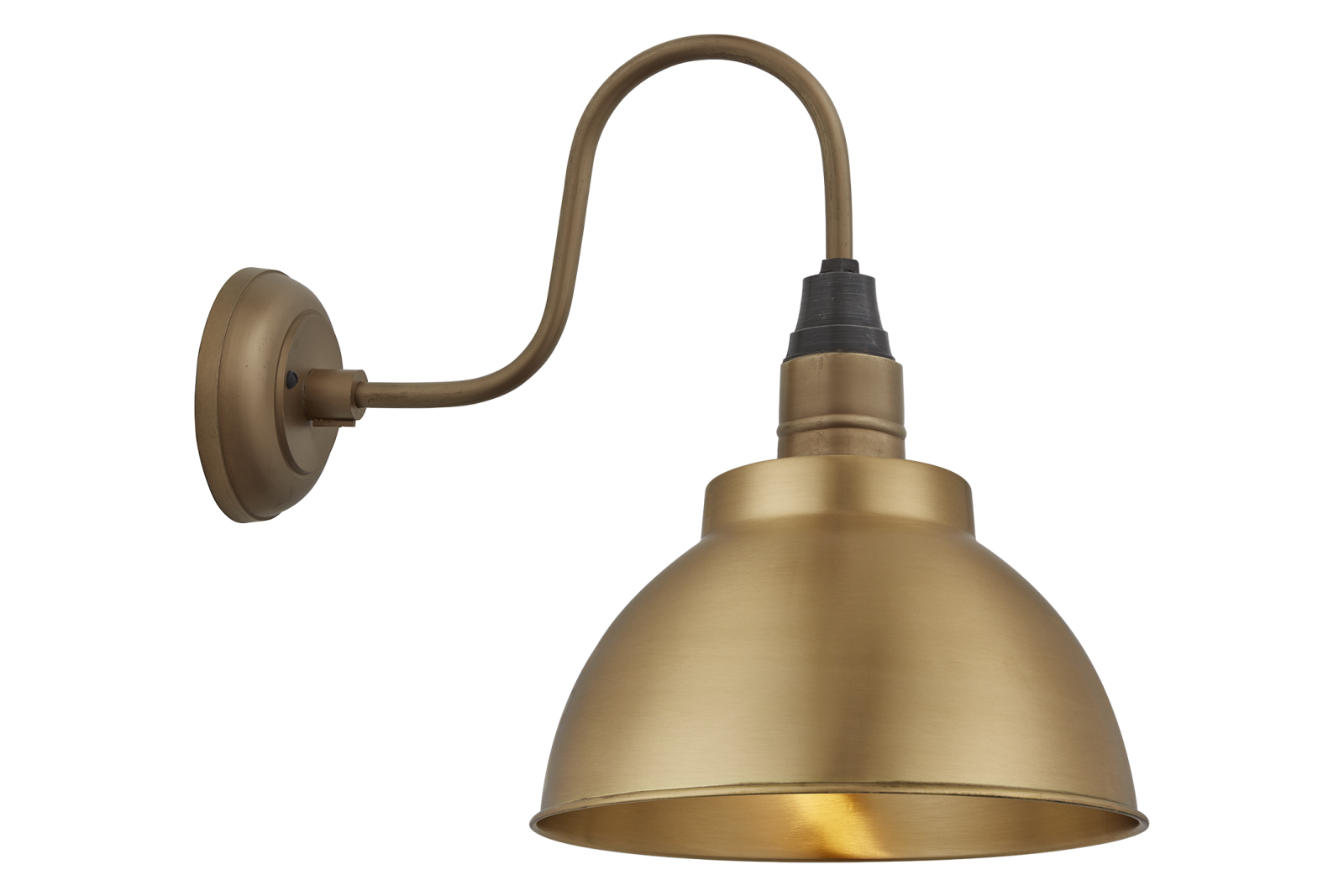 Swan Neck Dome Wall Light - 13 Inch Swan Neck Dome Wall Light - 13 Inch - Brass - Brass Holder