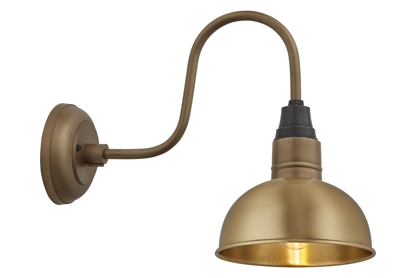 Swan Neck Dome Wall Light - 8 Inch Swan Neck Dome Wall Light - 8 Inch - Brass