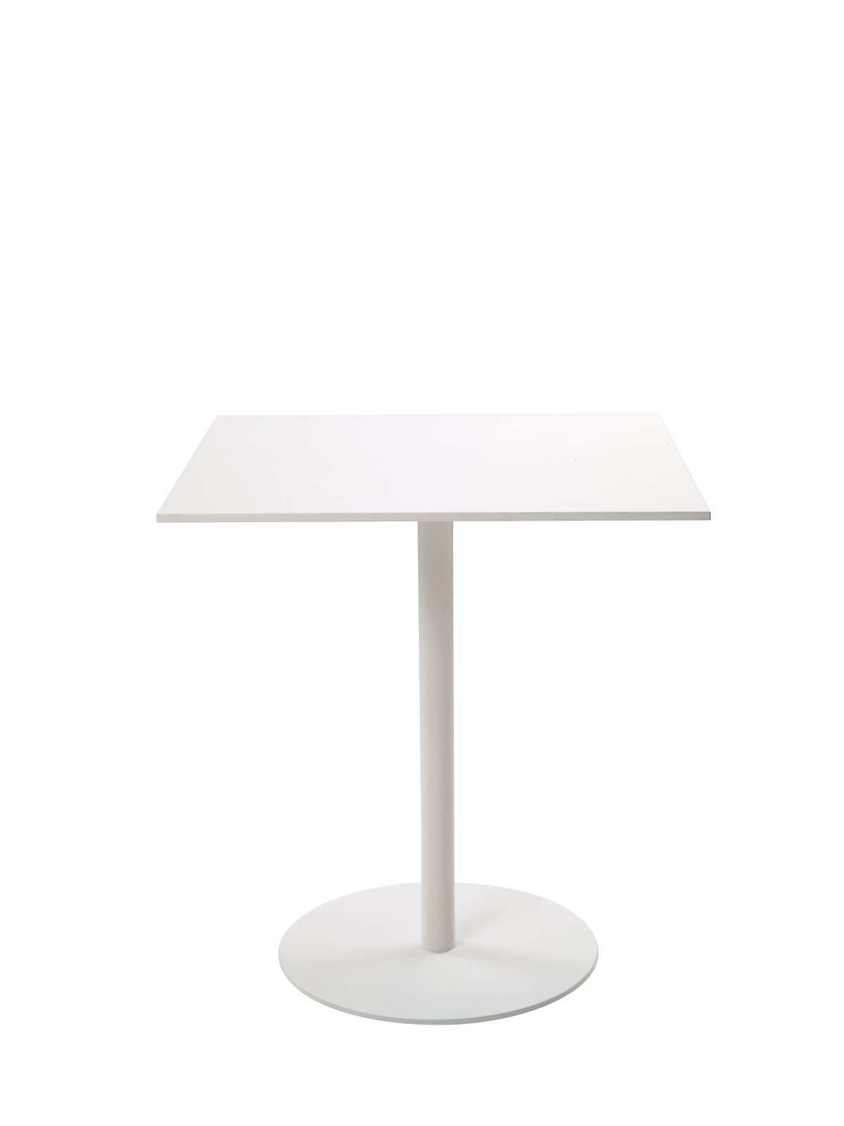 T1 Cafe Square Table white painted metal, white werzalit