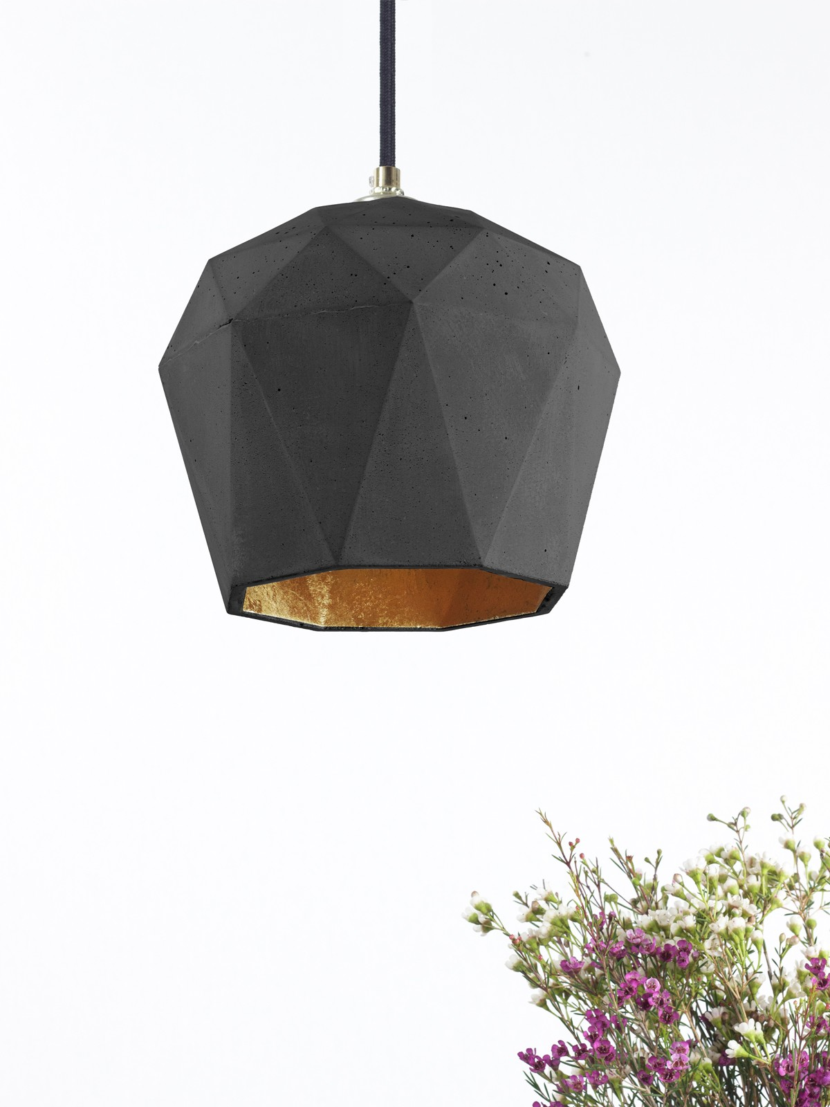 [T3] Pendant Light Triangle Dark Grey Concrete, Gold Plating