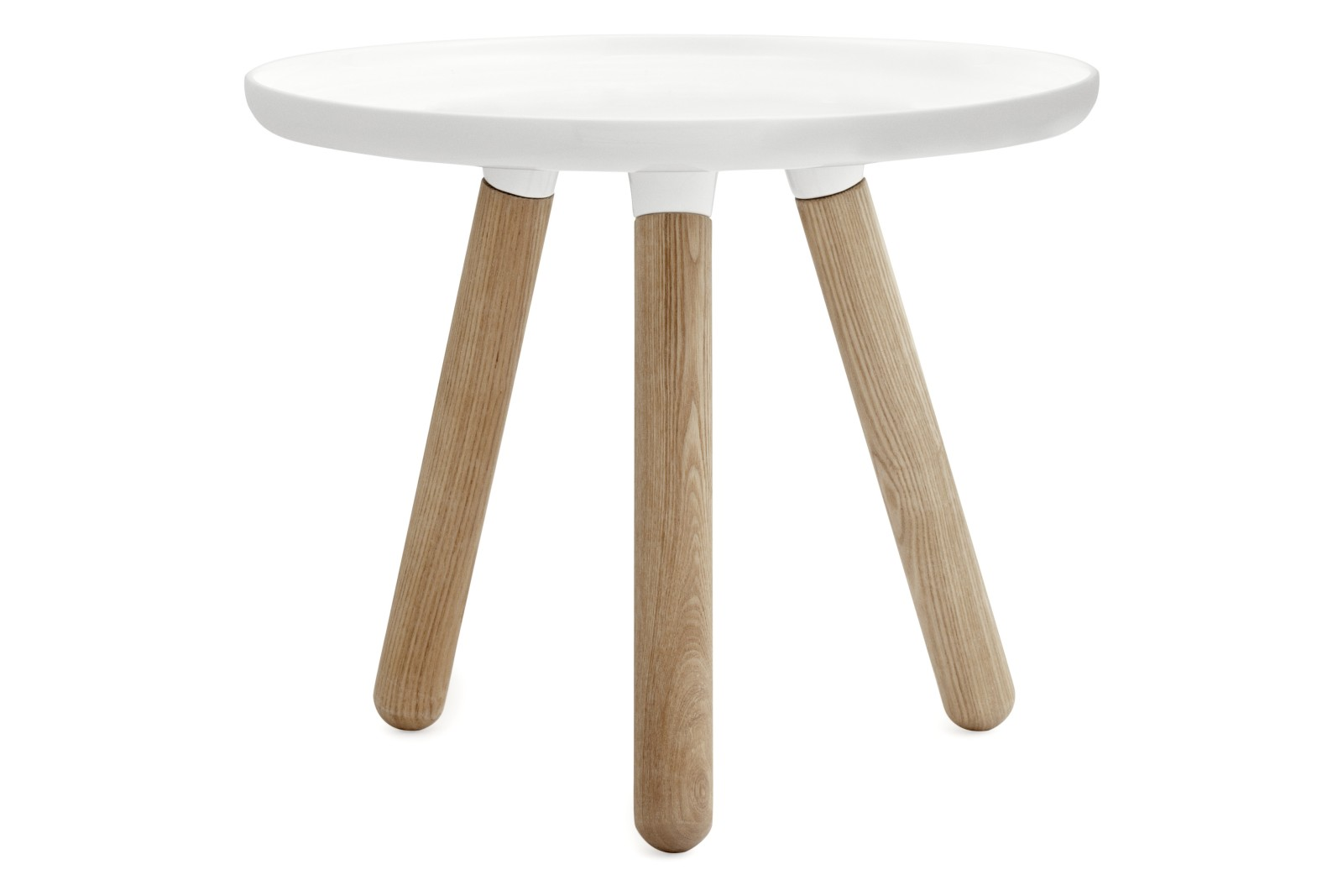 Tablo Round Coffee Table White Top, Natural Ash Legs, Small