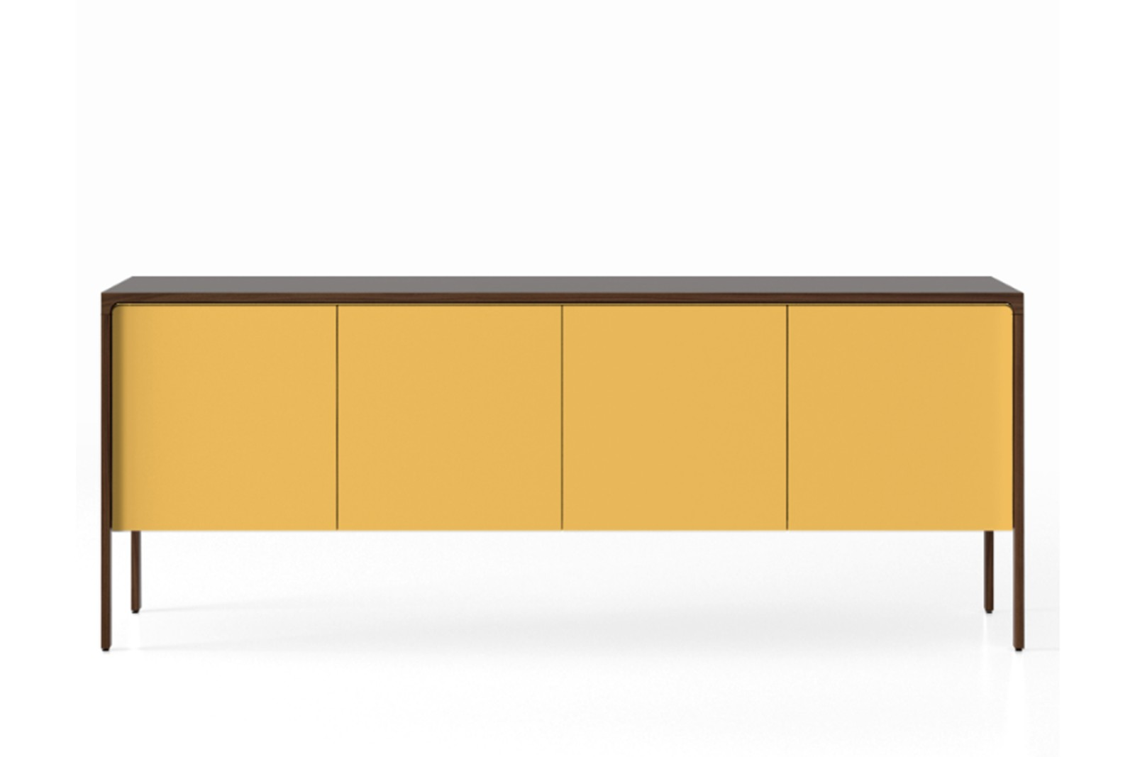 TAC215 Tactile Sideboard Dark Stained Walnut, Mustard Texturised Lacquered