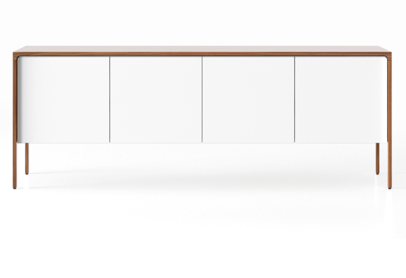 TAC215 Tactile Sideboard Super-Matt Walnut, White Texturised Lacquered
