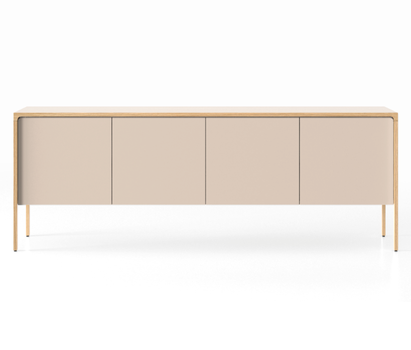 TAC215 Tactile Sideboard Whitened Oak, Cream Texturised Lacquered (ncs1005-u50r)