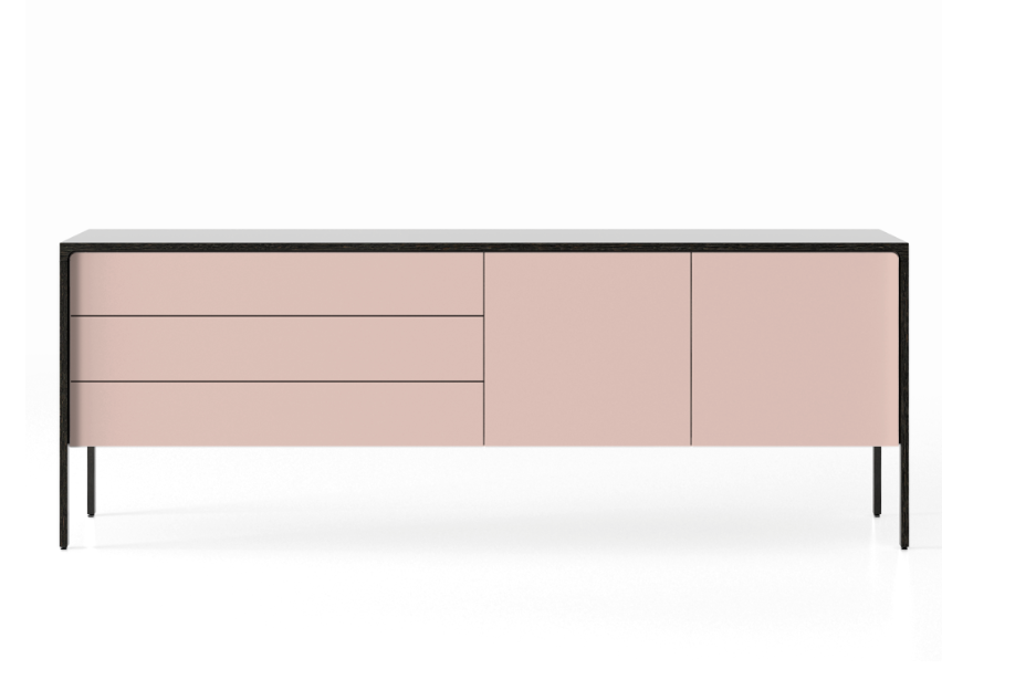 TAC216 Tactile Sideboard Dark Grey Stained Oak, Rose Texturised Lacquered (ncs3010-u80r)