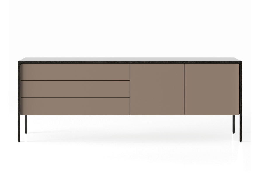 TAC216 Tactile Sideboard Dark Grey Stained Oak, Bronze Texturised Lacquered (cs6010-y10r)