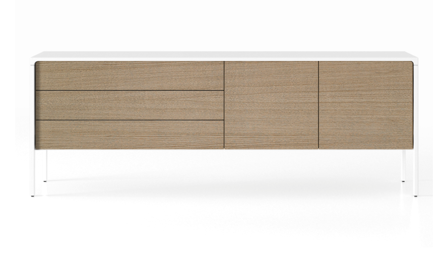 TAC216 Tactile Sideboard White Open Pore Lacquered on Oak, Siena Grey Stained Oak