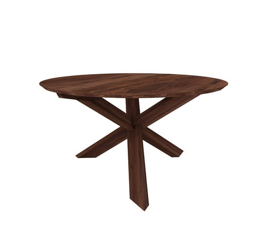 Teak Circle Dining Table Walnut, 163 x 163 x 76 cm