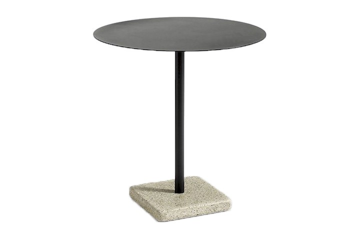 Terrazzo Round Outdoor Table Anthracite Top with Yellow Base