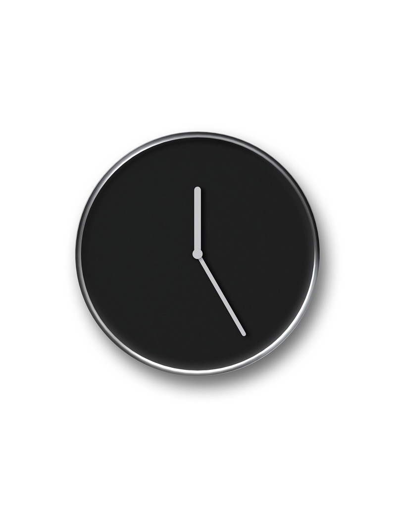 THIN Wall Clock Black & Chrome