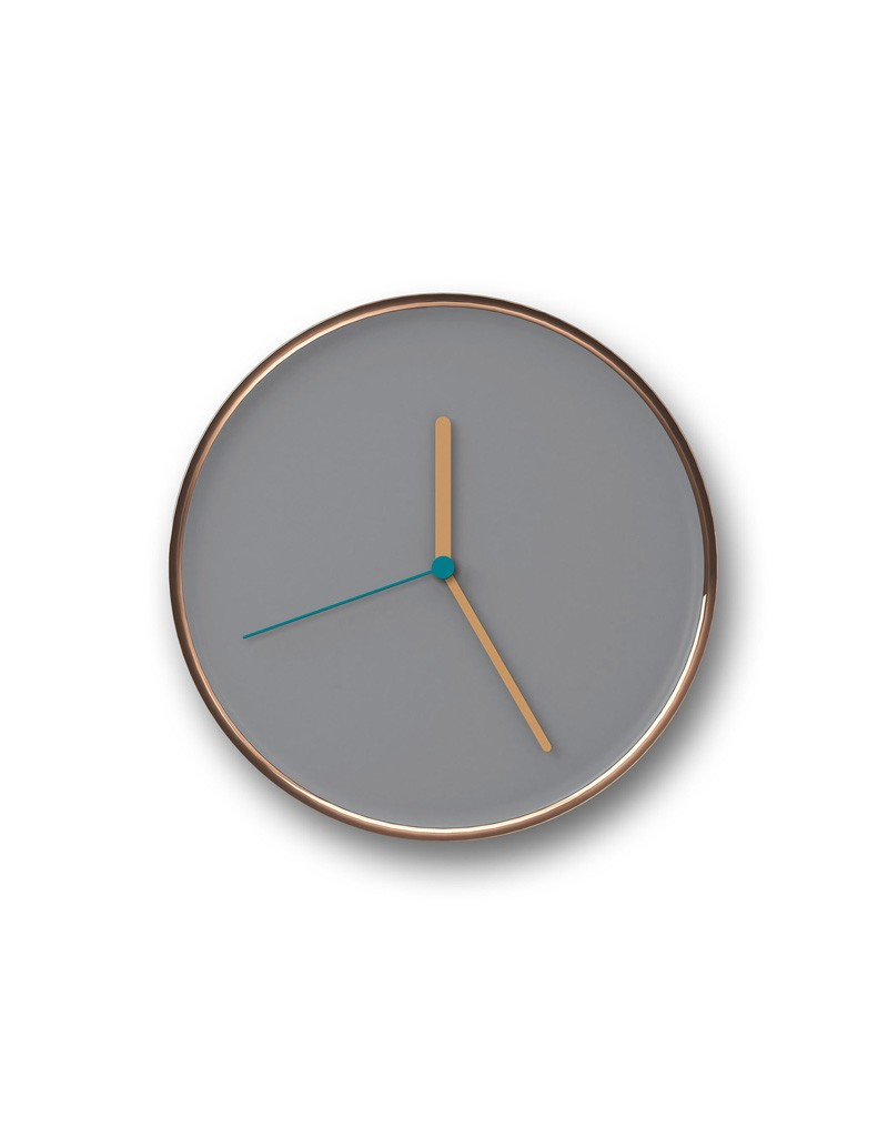 THIN Wall Clock Gray & Copper