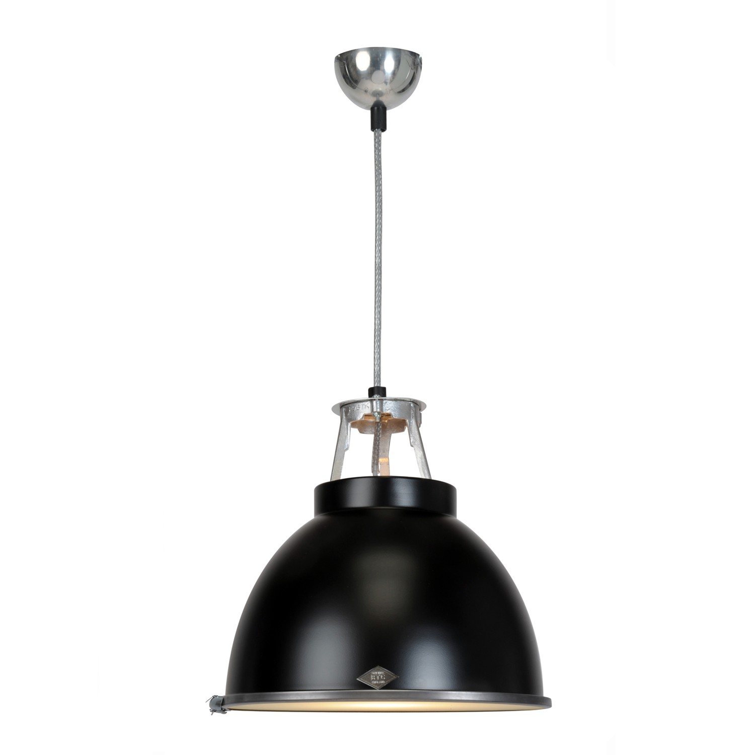 Titan Size 1 Pendant Light Black with Etched Glass