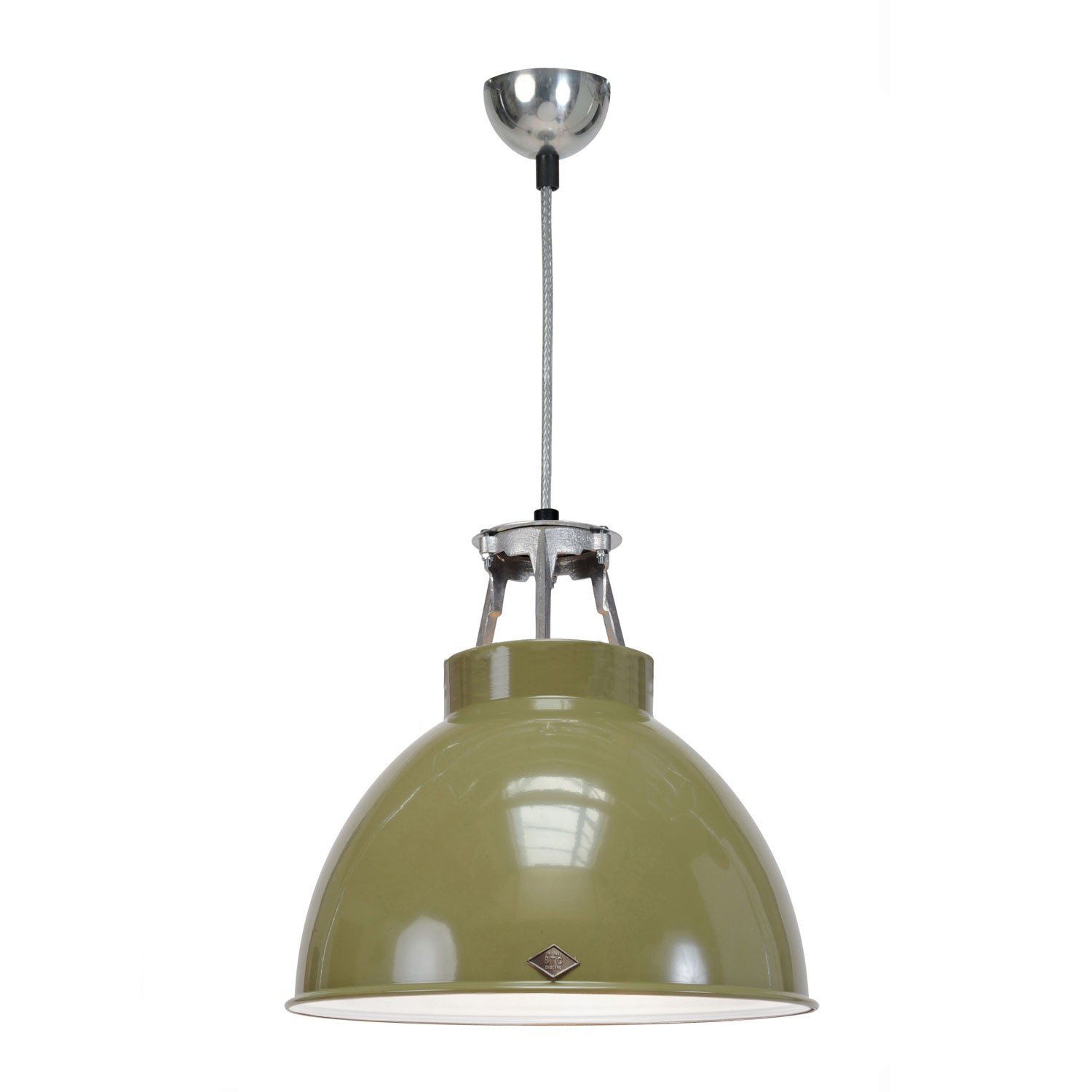 Titan Size 1 Pendant Light Olive Green with White Interior