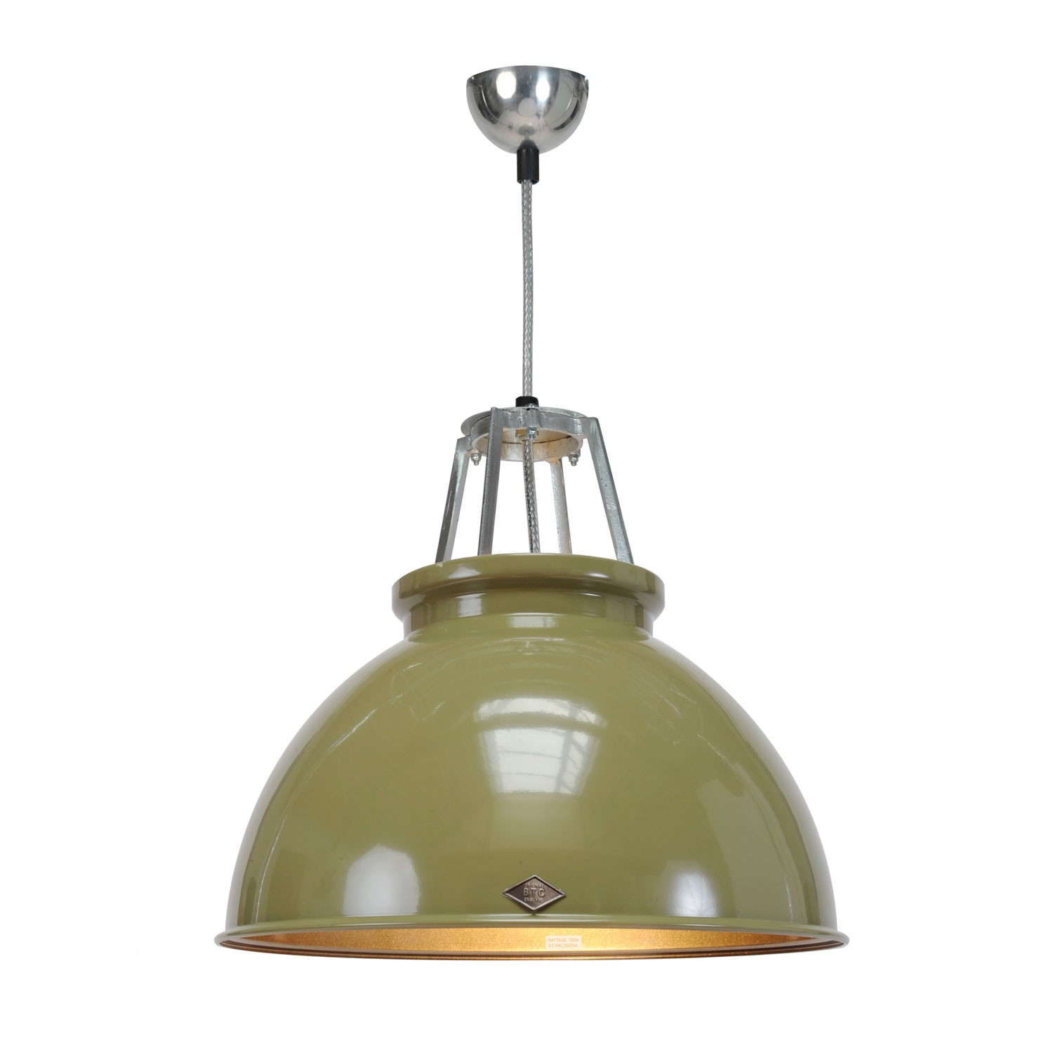 Titan Size 3 Pendant Light Olive Green with Bronze Interior