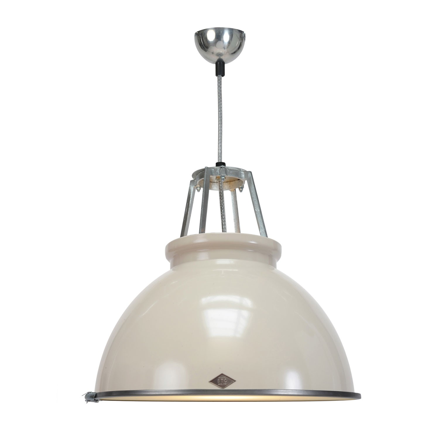 Titan Size 3 Pendant Light Putty Grey with Etched Glass