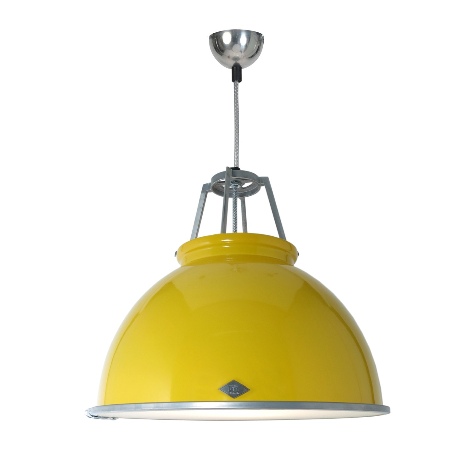 Titan Size 3 Pendant Light Yellow with Etched Glass