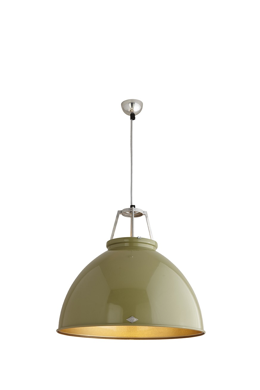 Titan Size 5 Pendant Light Olive Green with Bronze Interior