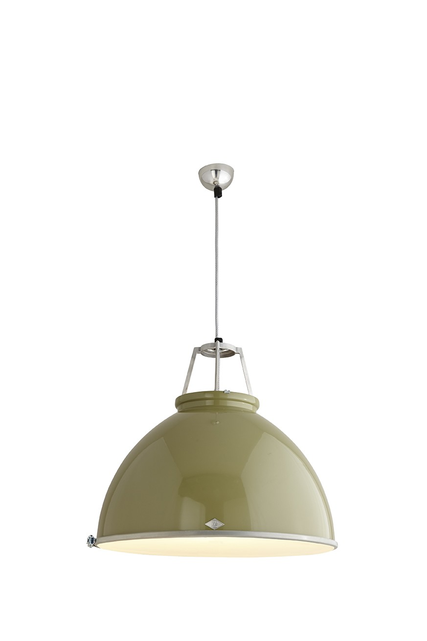 Titan Size 5 Pendant Light Olive Green with Etched Glass