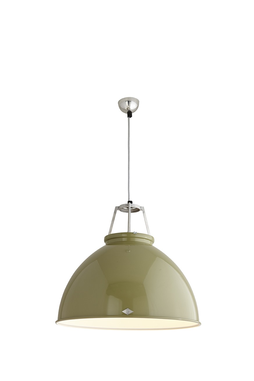 Titan Size 5 Pendant Light Olive Green with White Interior