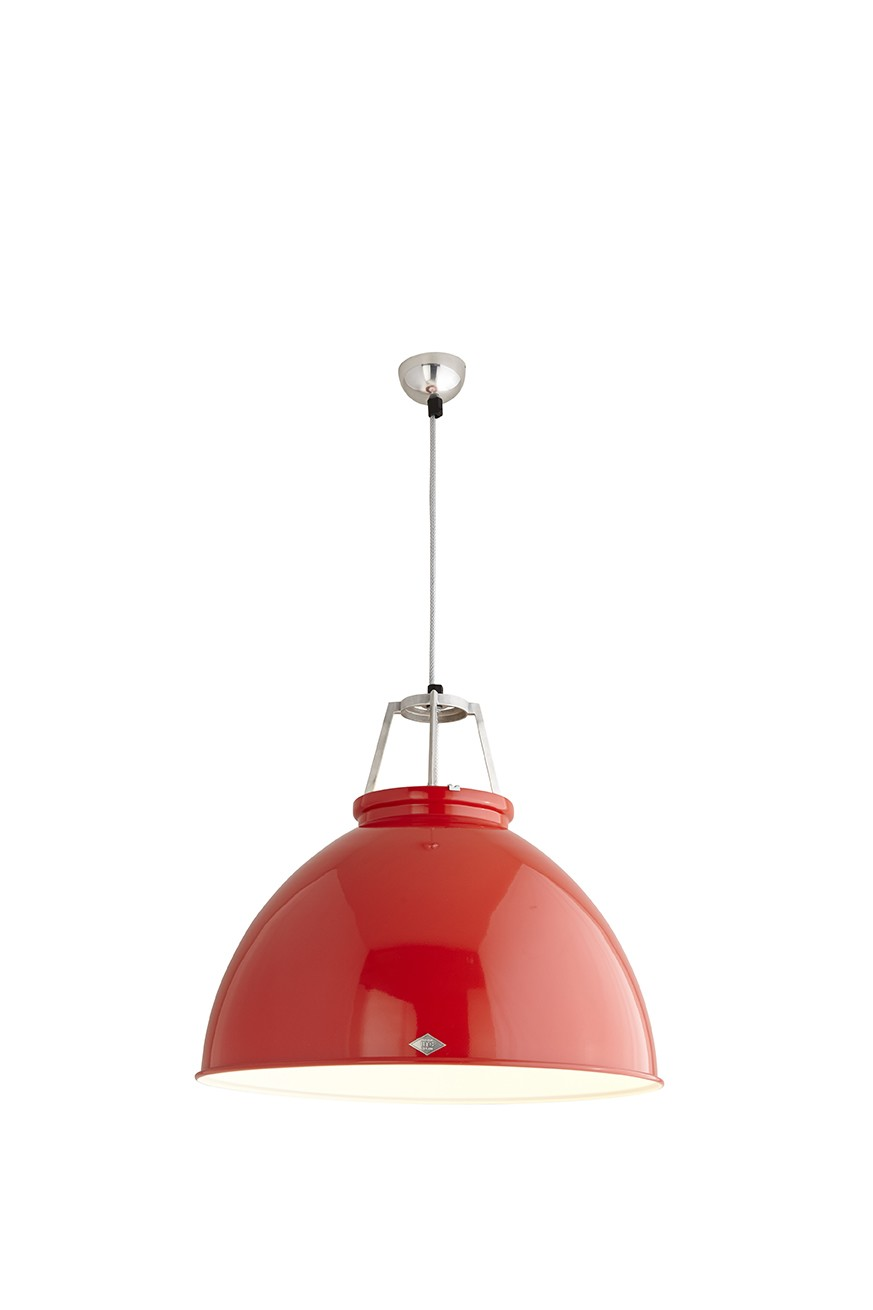 Titan Size 5 Pendant Light Red with White Inerior