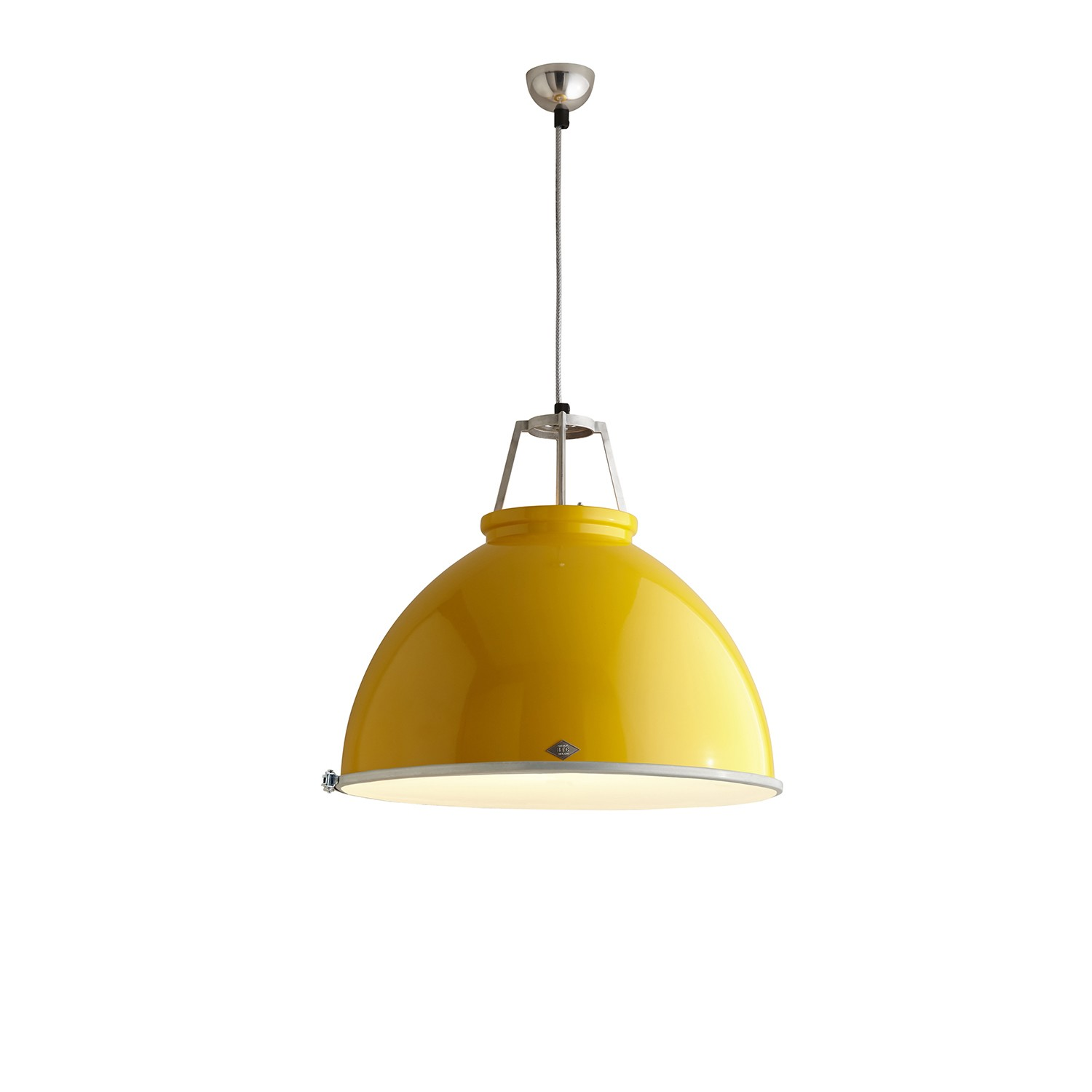 Titan Size 5 Pendant Light Yellow with Etched Glass