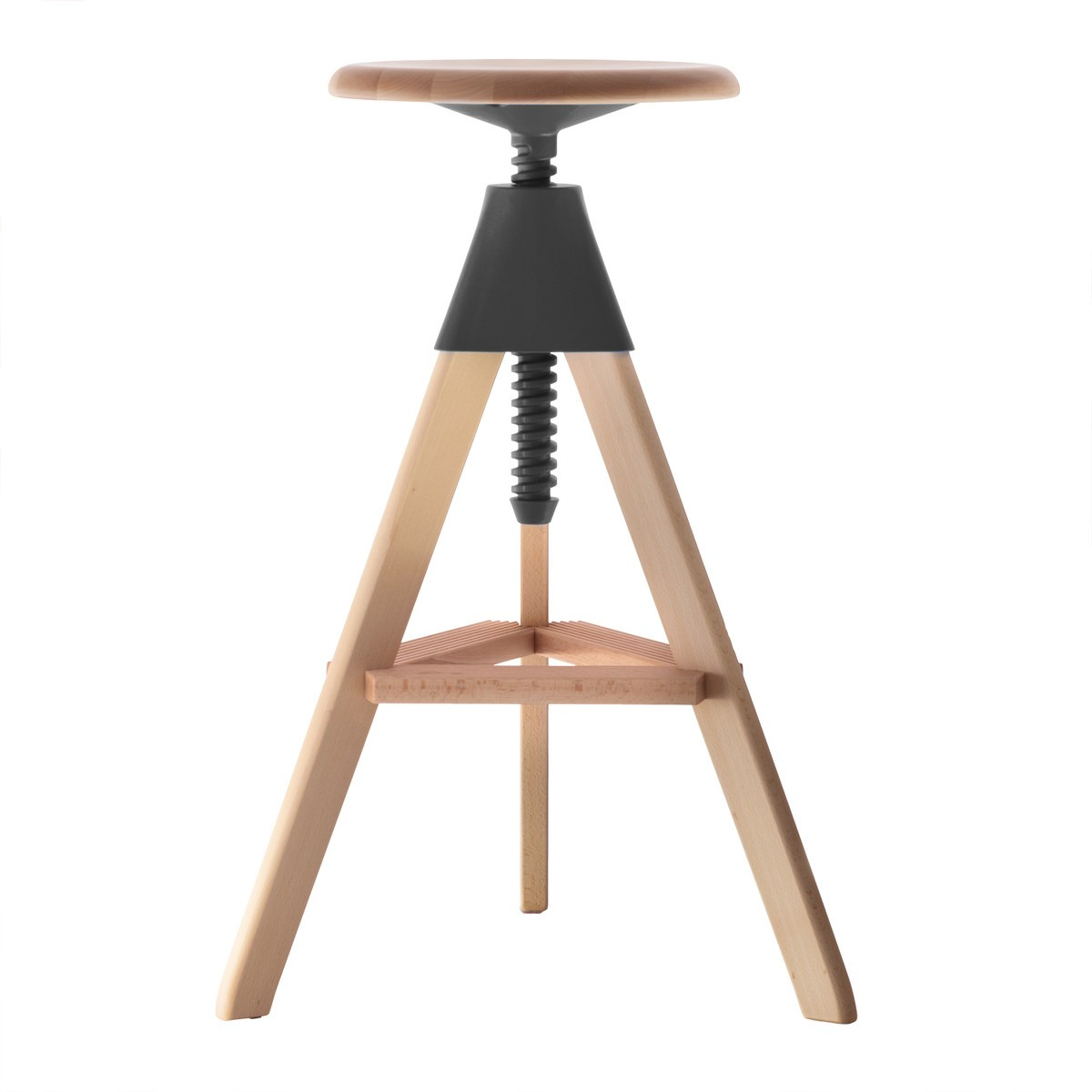 Tom Swivel Stool - The Wild Bunch Natural Seat and Frame, Matt Black Joint and Screw