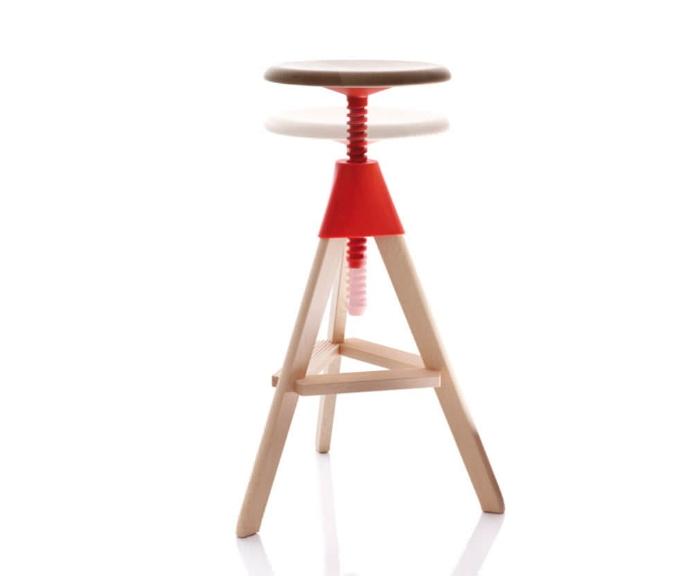 Tom Swivel Stool - The Wild Bunch Natural Seat and Frame, Matt Orange Joint and Screw